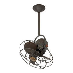 """Matthews Fan Company - Contemporary 13"""" Matthews Bianca Direcional Bronze Ceiling Fan - This Bianca Direcional ceiling fan from Matthews has a bronze finish with metal blades. This fan features a motor with a lifetime warranty. The Lutron FS5E rotary wall control is sold separately. A standard 20"""" downrod is included with the fan. 5"""" 10"""" or 30"""" downrods can be specified at the time of order. Does not accept a light kit. A minimum 10 ft. ceiling is required for installation. UL rated for damp locations. (UM)  Bronze finish.  Metal blades.  Lifetime motor warranty.  Lutron FS5E rotary wall control.  13"""" diameter.  UL rated for damp locations.  Fan height 18' ceiling to bottom (with 5"""" downrod).  Canopy 5.5"""" wide."""