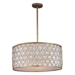 Maxim Lighting - Maxim Lighting 21457OFGS Diamond Modern / Contemporary Pendant Light - Diamond-shaped crystals gracefully fit the openings in these metal frames finished in a rustic Golden Silver finish, and creamy Off White fabric shades line each frame of the Diamond collection. The oval-shaped pendant is sure to be the focal point of any fine décor.