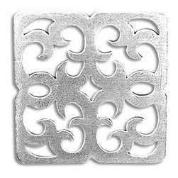 "Compliments Accessories - Ravenna Tile - Byzantine open scrollwork design in a 2x2"" tile with a shiny Silver finish"