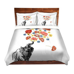 DiaNoche Designs - Duvet Cover Twill - Elephant - Lightweight and soft brushed twill Duvet Cover sizes Twin, Queen, King.  SHAMS NOT INCLUDED.  This duvet is designed to wash upon arrival for maximum softness.   Each duvet starts by looming the fabric and cutting to the size ordered.  The Image is printed and your Duvet Cover is meticulously sewn together with ties in each corner and a concealed zip closure.  All in the USA!!  Poly top with a Cotton Poly underside.  Dye Sublimation printing permanently adheres the ink to the material for long life and durability. Printed top, cream colored bottom, Machine Washable, Product may vary slightly from image.