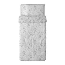 IKEA of Sweden - ALVINE KVIST Duvet cover and pillowcase(s) - Duvet cover and pillowcase(s), white, gray