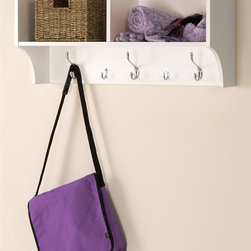 Prepac - 11.5 in. Hanging Entryway Shelf - Perfect for townhouses and condos. Help to keep gloves, hats, coats and jackets. Suitable for any front hallway, mudroom or home office. Two compartments have room for everything from baskets to books. Three large hooks provide sturdy storage for outerwear. Two smaller hooks are ideal for scarves, purses and bags. Easy to install with two-piece hanging rail system. Weight capacity: 40 lbs.. Warranty: Five years. Made from CARB-compliant, laminated composite woods. White finish. Made in North America. Cubbie: 15.75 in. W x 10 in. D x 8.75 in. H. Overall: 36 in. W x 11.5 in. D x 16.5 in. H