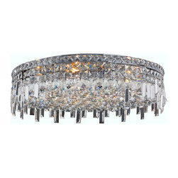 "Worldwide Lighting - Cascade 9 Light Chrome Finish Crystal 24"" Round Ceiling Light - This stunning 9-light Ceiling Light only uses the best quality material and workmanship ensuring a beautiful heirloom quality piece. Featuring a radiant chrome finish and finely cut premium grade crystals with a lead content of 30%, this elegant ceiling light will give any room sparkle and glamour. Worldwide Lighting Corporation is a privately owned manufacturer of high quality crystal chandeliers, pendants, surface mounts, sconces and custom decorative lighting products for the residential, hospitality and commercial building markets. Our high quality crystals meet all standards of perfection, possessing lead oxide of 30% that is above industry standards and can be seen in prestigious homes, hotels, restaurants, casinos, and churches across the country. Our mission is to enhance your lighting needs with exceptional quality fixtures at a reasonable price."