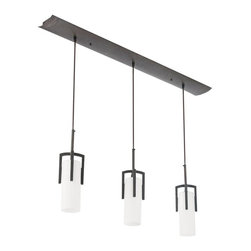 AFX - Restoration 3 Light Linear Pendant Light in Oil-Rubbed Bronze - Requires 120V lamp and three bulbs. Bulb not included. Elegant geometry. Cast metal frame. Electronic ballast. Twist lock strain relief for easy adjustment. 72 in. black adjustable cord length. Height can be adjustable from strain reliefs located at the cover. Glass can be raised for easy re-lamping and has an open bottom. Can be used over receptions desks, restaurants and in public spaces. 0.90 in. thick frosted hand-blown case glass secured into a die cast fitter with two screws. Opal white glass diffuser. UL listed for damp location. Bulb type: CFQ 4 pin. Maximum wattage: 13 Watts. Warranty: Two years limited. 40.88 in. W x 3.25 in. D x 14.5 in. H (15.30 lbs.). Specifications. Assembly Instructions