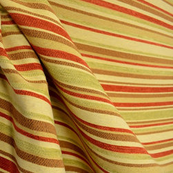 Striped Multi Striped Brown Red Green Chenille Upholstery Fabric By The Yard - Striped chenille upholstery fabric with brown, green and red striped. Great for any upholstery project.