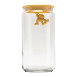 Alessi - Gianni Jar Large by Alessi - The Alessi Gianni Jar Large, a 1994 Mattia Di Rosa design, features a little-man indicator. When the air-tight lid is closed, he holds on. When the lid is off, he does a handstand. Great for dry-goods storage. The Gianni Jar Large comes in several bright colors and makes a great gift. Alessi, known as the Italian design factory, has manufactured household products since 1921. The stylish and fun items offered are the result of contemporary partnerships with some of the world's best designers of unique and modern home accessories.