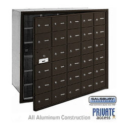 Salsbury Industries - 4B+ Horizontal Mailbox (Includes Master Commercial Lock) - 30 A Doors (29 usable - 4B+ Horizontal Mailbox (Includes Master Commercial Lock) - 30 A Doors (29 usable) - Bronze - Front Loading - Private Access