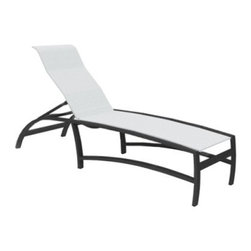 Homecrest Mirage Sling Chaise Lounge - Unlike an actual mirage, the good looks of the Homecrest Mirage Sling Chaise Lounge actually deliver on all the comfort and relaxation that you'll think you're seeing. The corrosion-proof aluminum frame has no trouble combining an undulating, ergonomic seat with the simple modern lines of the arm rests and seats to give you something truly unique. The individuality doesn't stop there when you can choose from unique finishes for the frame, and options for your choice of sling fabric. When the quick-drying fabric of the sling and the weather-proof aluminum body work together, you may never go inside again.About Homecrest:The Homecrest brand was founded in 1953 as the offspring of a retail furniture shop in Wadena, Minnesota when Mert Bottemiller and Al Engelmann set out to offer the market a better ottoman than those offered by their competitors. This venture soon led to their first line of patio furniture, and in 1956, Bottemiller patented the swivel rocker mechanism that is still a central part of the products they produce today from their plant in Minnesota. For almost 60 years the Homecrest brand has been the go-to name for quality outdoor furniture when customers want a sophisticated, versatile style that complements their interior décor and expands their lifestyles outside.