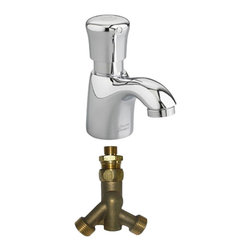 American Standard - American Standard 1340.M109.002 Pillar Tap Metering Faucet w/Mixing Valve-Chrome - American Standard 1340.M109.002 Pillar Tap Metering Faucet with Mixing Valve, Polished Chrome. This metering faucet features a cast spout, a 1.5 GPM pressure compensating vandal-resistant aerator, an easy-push handle, and an automatic shut-off to reduce water and energy waste. This model comes with an extended spout. This model comes with a mechanical mixing valve.
