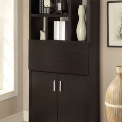 "Coaster - 800315 Bookshelf - Perfect for small spaces this bookshelf offers plenty of storage space as well as a pull-out desk area. Simply open the bottom doors and slide out the convenient table top! Finished in cappuccino.; Dimensions: 31.50""L x 11.50""W x 71.00""H"