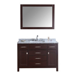 """Ari Kitchen and Bath - Bella 48"""" Espresso Transitional Style Bathroom Vanity and Mirror - Beautiful transitional style bathroom vanity by Ari Kitchen and Bath, a new brand manufacturing quality bathroom decor at affordable prices. The new 48"""" Bella comes with 1"""" edge Italian carrara marble top, backsplash, rectangle undermount CUPC basin, soft-closing drawers and doors, concealed drawer hinges, stained espresso framed mirror and hand stained espresso solid wood bathroom cabinet. Absolutely no MDF or Particle board on all of our bathroom vanities. All of our bathroom vanities come assembled by the manufacturer, minimal assembly required."""
