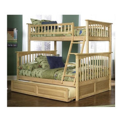Atlantic Furniture - Columbia Twin Over Full Bunk Wood Bed w Trund - NOTE: ivgStores DOES NOT offer assembly on loft beds or bunk beds. Designed for durability. Two 14 piece slat kits. Mortise and tenon construction. Twenty six steel reinforcement points. Guard rails match panel design. Compliance with ASTM F-1427 Standard Consumer Safety Specification for Bunk Beds and the Government Code of Federal Regulations 1213 and 1513. Warranty: One year. Made from eco-friendly solid hardwood. The passing weight capacity is 400 lbs for the Twin/Full size bed. The beds are reversible that you can move either the guard rails or ladder to either side.. Clearance from floor without trundle or storage drawers: 11.25 in.. 80.5 in. L x 44.25 in. W x 68.13 in. H. Assembly Instruction-1. Assembly Instruction-2. Trundle Assembly Instructions. Bunk Bed Warning. Please read before purchase.