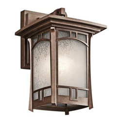 Kichler Soria 1 Light Outdoor Wall Sconce - 11.75H in. Aged Bronze - You can't go wrong with Mission-inspired style - especially when it's as simply marvelous as the Kichler Soria 1 Light Outdoor Wall Sconce - 11.75H in. Aged Bronze. It's crafted of durable cast aluminum in an eye-catching aged bronze finish. The vetro mica glass shade has a soft crackle pattern, and the light requires one 100-watt medium base bulb (not included). Sconce extends 8.5 inches from wall.Kichler QualitySince 1938, Cleveland-based Kichler Lighting has been known for their innovative designs and excellent craftsmanship. Kichler is the world's leading decorative lighting fixture company and the winner of four ARTS Lighting Manufacturer of the Year awards. Kichler designers travel the world to discover the latest trends in exterior and interior style, colors, and designs. They then translate the best of those trends into fixtures that will bring beauty, pleasure, and light into your home. Kichler fixtures stand the test of time and are functional works of art that you're sure to treasure.