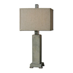 Concrete and Aluminum Table Lamp - *Concrete base with lightly antiqued brushed aluminum accents.