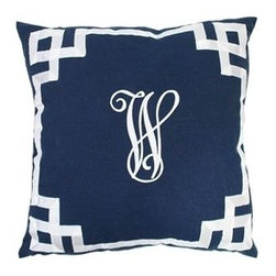 Monogrammed Navy Pillow with Ribbon Border - The colors and the fretwork border on this monogram throw pillow would add a sophisticated touch to almost any room in the house.