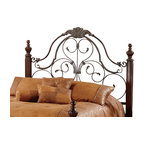 Hillsdale Furniture - Hillsdale Bonaire Poster Headboard with Rails - Full/Queen - Enjoy a royal night of well-deserved rest on the regal Bonaire bed, anchored by four impressively carved bronze and verdigris highlighted posts, this majestic bed mingles the drama of an old world master bedroom design with the elegance and style of a wood and metal combination.