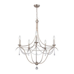 Crystorama - Crystorama Metro II 1 Tier Chandelier in Antique Silver - Shown in picture: Chandelier with hand-painted wrought iron and hand-cut crystal beading and accents.; This antique reproduction inspired Metro II Collection from Crystorama takes on a soft traditional style. With the added crystal accents - it allows this collection to fit any d̩cor style.