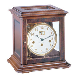 HERMLE - Hermle Boston Mechanical Key-wound Mantel Clock 22840 030340A - Walnut - This elegant mantel clock features: