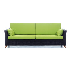 All Things Cedar - Rattan 4 Seater All Weather Wicker 8 Ft. SOFA with Lime Green cushion - Our 8 Foot Deep Seat Sofa is a great accomodation for weekend get togethers and offers plenty of room for a Sunday afternoon nap. Item is made to order.