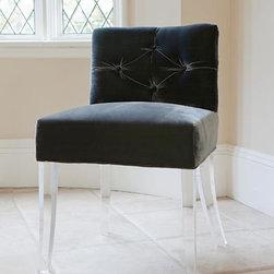 Acrylic - Grace & Blake Furniture - Grace Chair - Lucite legs with Velvet Upholstery.
