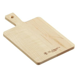 Mini Rectangle Maple Board - A rectangle of solid, sustainably grown North American maple is crafted into a convenient small board with sturdy handle and hanging hole. The size is ideal for small chopping and slicing tasks, bar, picnic or individual serving. Each is embossed with the J.K. Adams logo, a 65-year-old American woodworking company known for their heirloom-quality hardwood products both innovative and functional.