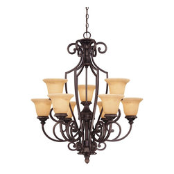 Savoy House Lighting - Savoy House Lighting 1P-50203-9-16 Knight Traditional Classic Chandelier - Rich details and classic styling accentuate the Knight collection from Savoy House. The bold lines are enhanced by a rich Antique Copper finish and Antique Marble glass.