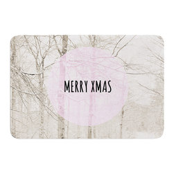 "KESS InHouse - Iris Lehnhardt ""Merry Xmas"" Holiday Memory Foam Bath Mat (24"" x 36"") - These super absorbent bath mats will add comfort and style to your bathroom. These memory foam mats will feel like you are in a spa every time you step out of the shower. Available in two sizes, 17"" x 24"" and 24"" x 36"", with a .5"" thickness and non skid backing, these will fit every style of bathroom. Add comfort like never before in front of your vanity, sink, bathtub, shower or even laundry room. Machine wash cold, gentle cycle, tumble dry low or lay flat to dry. Printed on single side."