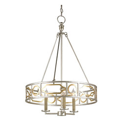 """Currey & Company - Currey & Company Fairchild Small Chandelier - The Currey & Company Fairchild chandelier reimagines early modern allure. Golden and geometric, bold open shapes circle a refined silver frame for a minimalist yet captivating statement. 22"""" Dia x 32""""H; Gold and silver leaf finishes; Accepts 60W max bulb (not included)"""