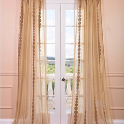 EFF - Cleopatra Gold Embroidered Sheer Curtain Panel - This beautiful sheer Cleopatra curtain panel features an embroidered medallion-like print around the edges for a unique design that will complement any motif. Designed in soft,neutral tones,this panel will add and elegant ambiance to your home.