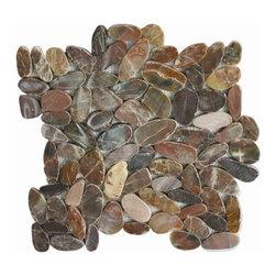 Indo Tile - Cherry Flat Pebble Tile, Sample - SAMPLE of Cherry Sliced Pebble Tile ( 1 Full Sheet or Square Foot )