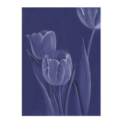 Drawing of Tulips on Royal Blue Paper Print, 11.5x14.5 - Elegantly drawn tulip composition printed on bright white archival paper