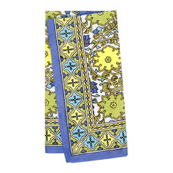 KAF Home - Jaipur Spring Napkin, Set of 4 - This beautiful Indian design, from the Jaipur region of the country, makes for an exotic napkin, perfect for a formal occasion. Exotic geometric pattern borders a gorgeous floral design.