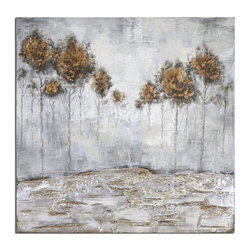 Matthew Williams - Matthew Williams Iced Trees Transitional Abstract Wall Art X-40313 - Frameless, hand painted artwork on canvas. The canvas has been stretched and attached to wooden stretching bars. Due to the handcrafted nature of this artwork, each piece may have subtle differences.