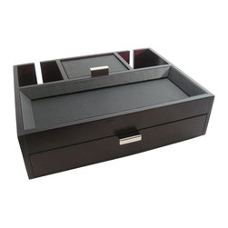 Proman Products - Proman Products Monarch Dresser Valet in Mahogany - Monarch dresser valet, stylish design with leatherette tray top and Pull out drawer for storage. Back slits allowing charging cord to go through. Beautiful and highly functional, it makes the perfect gift. Dark mahogany finish