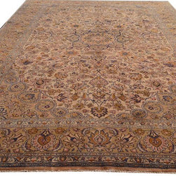 "Individual - A 10' x 14"" Tea Washed Persian Isfahan Rug - Folks who are looking for a vintage  tea washed or earth tone color combination but want to have in Persian rug, this would be the one. Because this type of color combination in Persian rugs is not an east task to find one. This is a beautiful Persian Isfahan, measures 9'-6"" x 14' to be exact. Color combination used to be more traditional with reds & blues, but after tea washed colors gone down towards earth tone. This rug is in fabulous condition, and the good news is, I am offering it at special price of $2,499.00 for my Houzz clients. The actual retail price of this rug is at least $10,000.00."