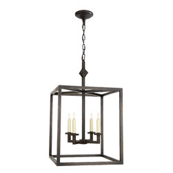 Aged Iron Star Lantern - Light your room with the simple lines of aged iron and four classic candelabra sockets. The classic shape is perfect for a dining room, hallway or entryway and will complement countless design styles.