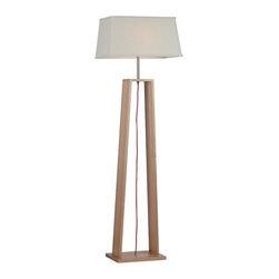 ParrotUncle - Large Rectangular Linen Shade Tall Wood Floor Lamp - Large Rectangular Linen Shade Tall Wood Floor Lamp
