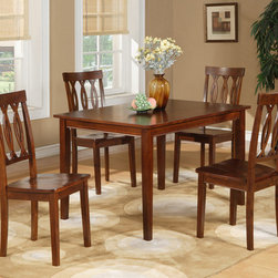 None - Espresso 5-piece Dining Table and Chairs Set - This five-piece rubberwood dining table and chairs set looks great in any home. The espresso finish is beautifully toned, and the dark tone is ideal for any traditional or neutral space. The four chairs provide ample seating for guests.