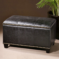 Beckham Storage Bench - Seating and storage is a perfect combination that can be achieved wonderfully with the Beckham Storage Bench. Sturdy hardwood construction is paired with a lined interior and durable black upholstery accented by eye catching brass tacks for a functional piece of decor that can be placed anywhere and moved just as easily.