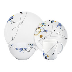 Ink Dish - Kites 16-piece Dinnerware Set by Dana Oldfather - This dinnerware pattern from artist Dana Oldfather is unexpected and utterly engaging. You could easily get carried away carefully plating every meal to complement the abstract design underneath.