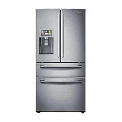 Samsung - RF28HMELBSR Samsung 28 Cu. Ft. 4 Door French Door Refrigerator  Flex Zone Drawer - This Samsung 4-door French door refrigerator will give you the space you desire in a beautiful sleek design that will look great in any kitchen The French door refrigerator comes with a 28 cu ft capacity and is equipped with a revolutionary cooling s...