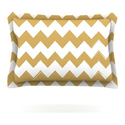 """Kess InHouse - KESS Original """"Candy Cane Gold"""" Chevron Pillow Sham (Woven, 30"""" x 20"""") - Pairing your already chic duvet cover with playful pillow shams is the perfect way to tie your bedroom together. There are endless possibilities to feed your artistic palette with these imaginative pillow shams. It will looks so elegant you won't want ruin the masterpiece you have created when you go to bed. Not only are these pillow shams nice to look at they are also made from a high quality cotton blend. They are so soft that they will elevate your sleep up to level that is beyond Cloud 9. We always print our goods with the highest quality printing process in order to maintain the integrity of the art that you are adeptly displaying. This means that you won't have to worry about your art fading or your sham loosing it's freshness."""