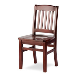 "Holsag - Bulldog Dining Side Chair (Teak) - Finish: TeakFive vertical slots accent this high-backed wooden kitchen or dining room chair.  Made of solid European beech wood for sturdy and long-lasting wear.  Classic finish for a simple, understated room accent at a discount price.  The Bulldog gets its name from rugged construction and handsome good looks.  If you are ready to add the final touches to your completed restaurant of dining area, this dining chair is simple enough to fit almost any pre-established atmosphere, but stylish enough to hold its own as an accent piece. * 100% Solid European Beech hardwood. Extra thick side rails for added support. Elaborate 9-Step finishing process - Hand Stained Wood Finish, slight variations in color may occur. Colors may vary than what appears on computer screen. Mortise and tenon joints glued and reinforced with 18 gauge nails, corner block, & low root wood screws. Suitable for commercial or home use. This stool has been BIFMA tested and approved for 300 lbs.. 35"" H x 19"" D x 18"" W (17.5 LBS). Seat Height: 18"" H. Product Specification"