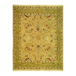Safavieh - Wool Pile Floral Rug in Taupe and Green (10 ft. x 14 ft.) - Size: 10 ft. x 14 ft. Flatweave. 100% wool pile. Made in India.