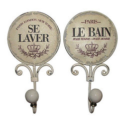 "Consigned - Pair Of French Clothing Hooks - Pair of French style clothing or bath hooks to add a little ""joie de vivre"" to your dressing area or bathroom.  Painted metal mesh disks within a heavy wire frame are adorned with the French phrases ""Se Laver"" (to wash) and ""Le Bain"" (the bath).  Ceramic balls at the end of the hooks ensure no-snag care for your towels and clothing."