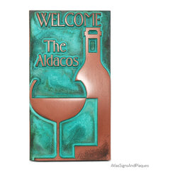 """Vintage Wine Welcome Sign 6"""" x 11"""" in Copper Verdi - Quick, what are the French most famous for? Not French Fries, not French kisses, not the Eiffel Tower. It's wine. Our Vintage Wine Welcome Sign is an excellent choice for wine connoisseurs and wine lovers. Plucked from our classiest sign vintage, this wine sign features a wine bottle and wine glass on its front. Wine enthusiasts look no further--the Vintage Wine Welcome Sign is the perfect choice for you."""