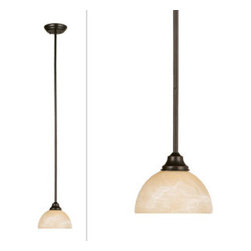 DHI-Corp - Trevie Mini Pendant, Oil Rubbed Bronze - The Design House 517516 Trevie Mini Pendant is made of formed steel, antique alabaster glass and finished in oil rubbed bronze. This 1-light ceiling mount is rated for 120-volts and uses (1) 60-watt medium base incandescent bulb. This pendant's linear construction and contemporary appeal extends long from the ceiling with a soft downward facing lamp gently diffusing light. Measuring 43.3-inches (H) by 7-inches (W), this 2.6-pound fixture can be mounted alone for a subtle look, or in a row for a modern centerpiece. Rustic details accentuate the antique glass for a vintage appeal over a kitchen island, bar or dining room table. This product is UL and CUL listed. The Trevie collection features a beautiful matching chandelier, vanity light, wall sconce and ceiling mount. The Design House 517516 Trevie Mini Pendant comes with a 10-year limited warranty that protects against defects in materials and workmanship. Design House offers products in multiple home decor categories including lighting, ceiling fans, hardware and plumbing products. With years of hands-on experience, Design House understands every aspect of the home decor industry, and devotes itself to providing quality products across the home decor spectrum. Providing value to their customers, Design House uses industry leading merchandising solutions and innovative programs. Design House is committed to providing high quality products for your home improvement projects.