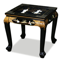 """China Furniture and Arts - Black Lacquer Mother of Pearl Figurine Lamp Table - For an end table, this piece offers more than expected in both artistic and practical senses. Its square top is large enough for small decorative objects besides a lamp. Superbly hand painted black lacquer and designed with maiden figures in mother of pearl. One 1/4"""" glass top included."""