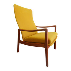 France & Sons - Consigned Ole Wanscher Danish Modern Teak Lounge Chair - A vintage, Danish Modern, rare, original upholstery, high-back lounge armchair by Ole Wanscher for France & Sons of Denmark.