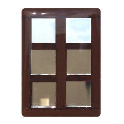 """Glace Yar - Cedar Street - French Door Cabinet Knob, Brown Glass, Satin Nickel - Inspired by a cherished family home. we introduce our newest and most unique design in decorative hardware, our """"Cedar Street"""" French Door cabinet knob. Each glass knob is hand cut and set using opaque stained glass and """"window panes"""" made of mirrored glass along with matching grout."""